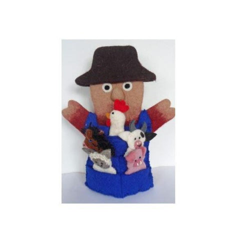 Felt Old Macdonald Farm Hand Puppet with Animal Finger Puppets
