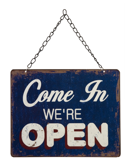 Open Closed Hanging Metal Sign