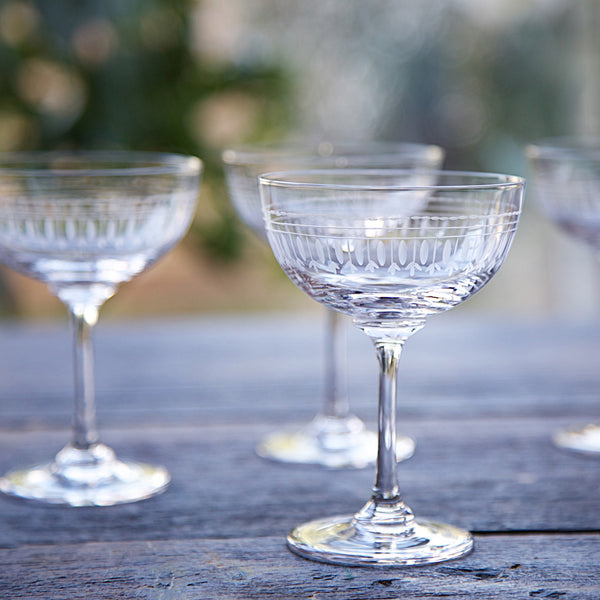 Vintage Style Champagne Saucers - Set of Six - Three Styles - Greige - Home & Garden - Chiswick, London W4