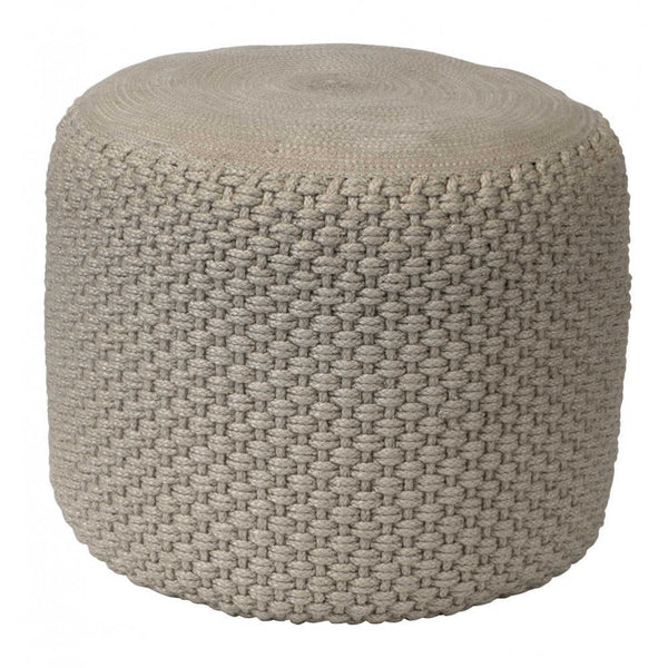 Indoor and Outdoor PET rope design pouf in grey jute effect