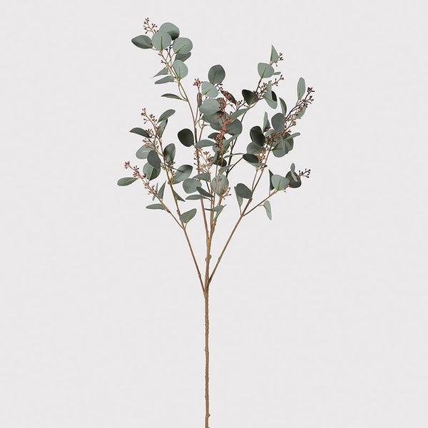 Faux round leaf eucalyptus seed spray large