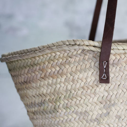 Woven Palm Leaf Shopping Basket - Two Styles - Greige - Home & Garden - Chiswick, London W4