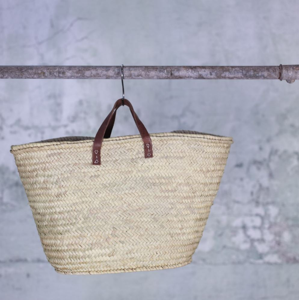 Woven Shopping Basket Uk : Woven palm leaf ping basket two styles
