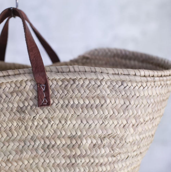 Woven Palm Leaf Shopping Basket Two Styles