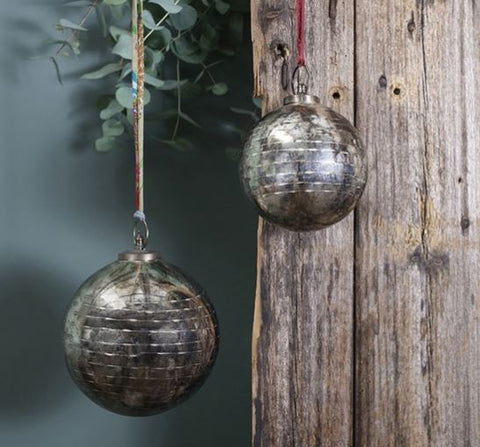 Giant Hand-Etched Antique Silver Glass Baubles - Greige - Home & Garden - Chiswick, London W4