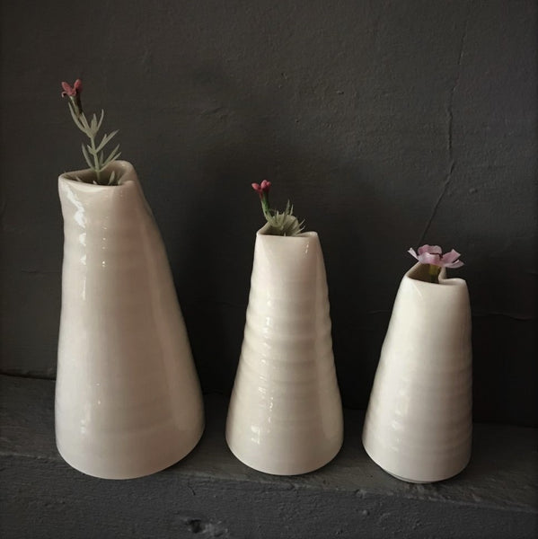 Hand-Thrown Porcelain Skinny Bud Vase - Heart Top