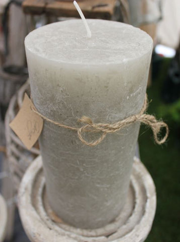 Rustic Pillar Candles - Greige