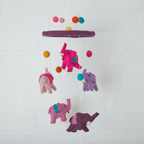 Pink Felt Elephant Hanging Mobile Fairtrade from Nepal