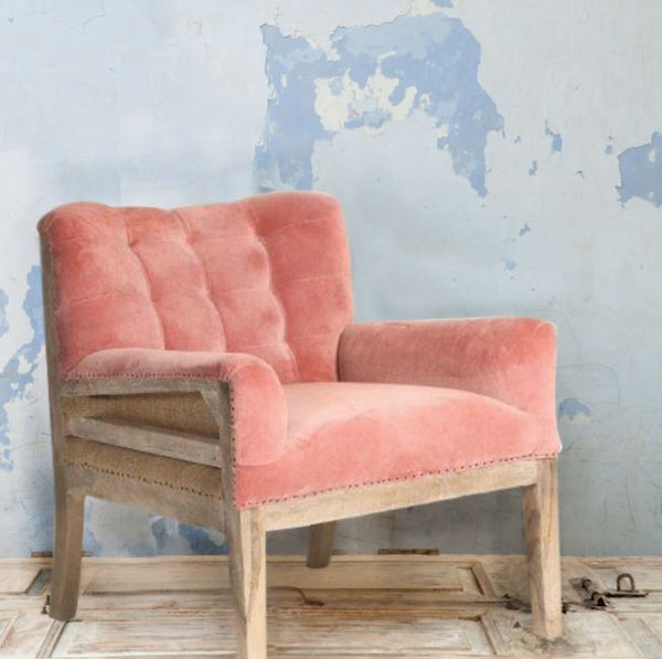 Pink Blush Deconstructed Velvet Armchair - Greige - Home & Garden - Chiswick, London W4