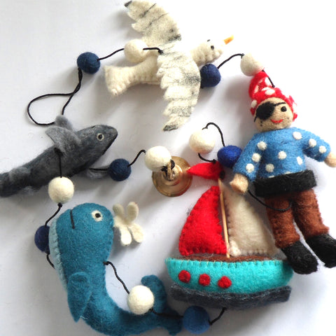 Hanging Felt Pirate STring hadmade in Nepal