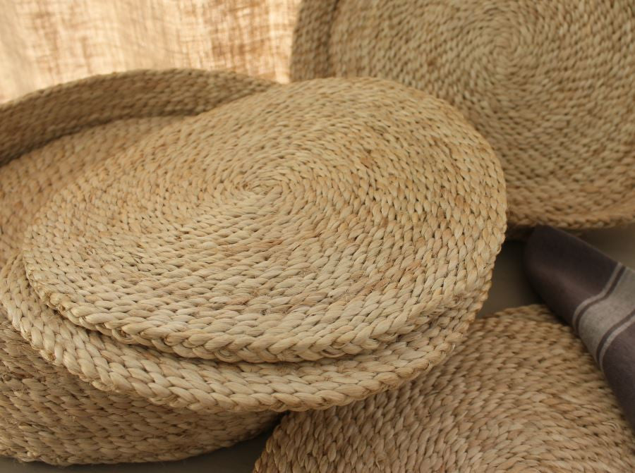 Handmade Jute Round Placemats Natural Or Grey Set Of 8