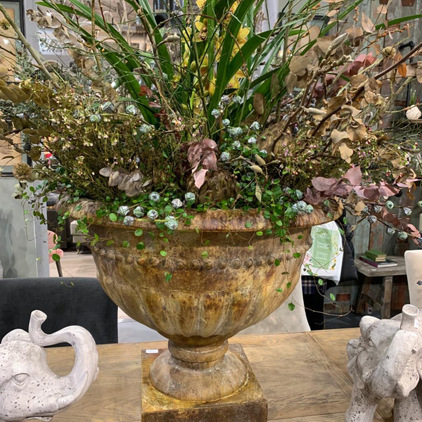 Large Rustic Urn Planters - Set of Three