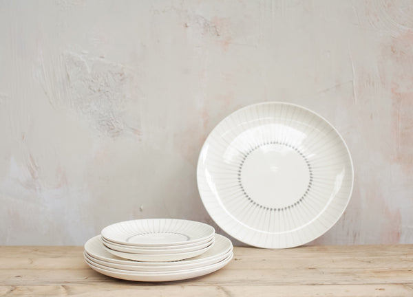Handmade ceramic serving platter with grey stripes