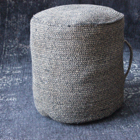 Tall Black Brown Jute Pouffe with Handle - Greige - Home & Garden - Chiswick, London W4