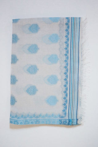 Powder Blue Paisley Cotton & Silk Scarf from Jo Edwards
