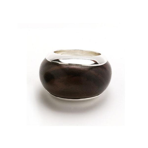 Silver Lined Black Wood Ring - Greige - Home & Garden - Chiswick, London W4