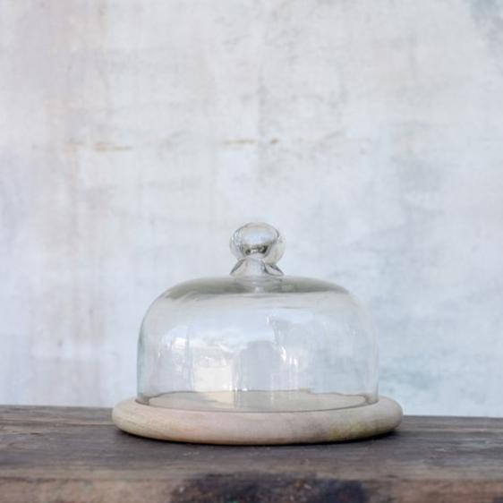 Small Mango Wood Platter with Recycled Glass Bell Dome - Greige - Home & Garden - Chiswick, London W4