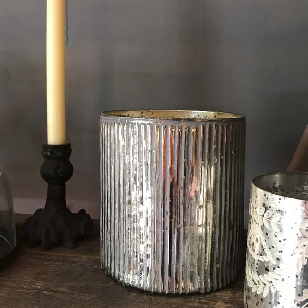 Large ribbed antique silver glass tealight holder