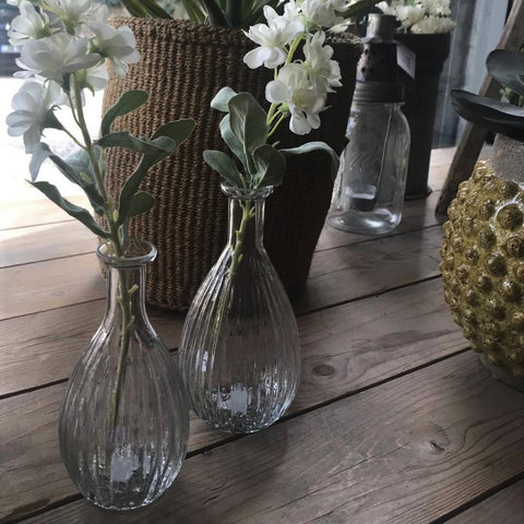 Mini Rippled Glass Bud Vase - Two Sizes - Greige - Home & Garden - Chiswick, London W4