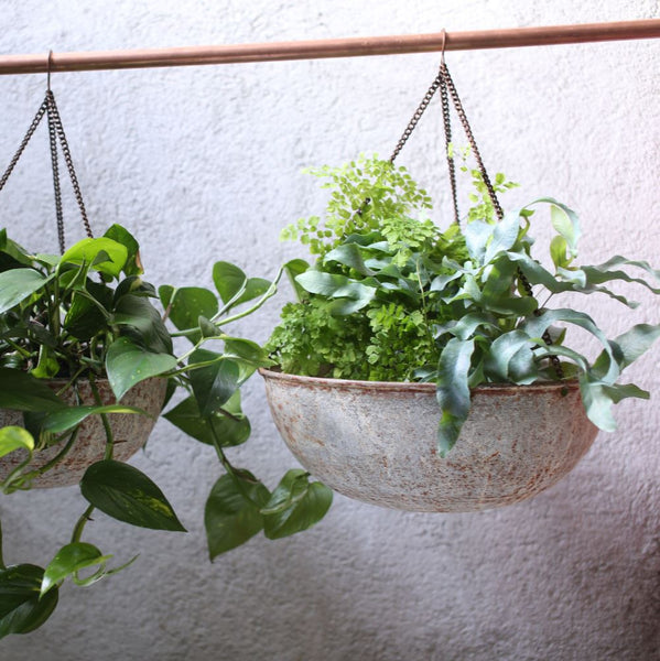 Aged Zinc Round Hanging Planter - Two Sizes - Greige - Home & Garden - Chiswick, London W4