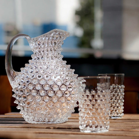 Rounded Glass Jug - Hobnail Design - Three Sizes - Various Colours - Greige - Home & Garden - Chiswick, London W4