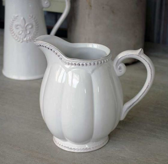Ceramic Pitcher - Grey or Antique White - Greige - Home & Garden - Chiswick, London W4