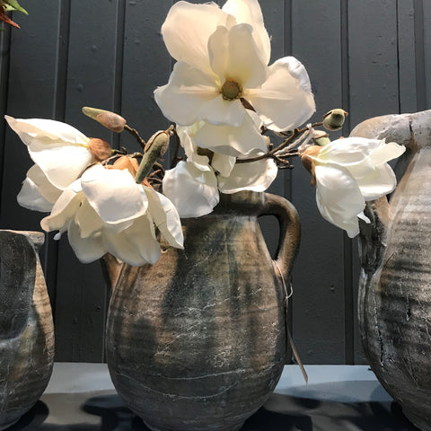 Rustic Ceramic Jar Vase with Handles - Three Sizes - Greige - Home & Garden - Chiswick, London W4