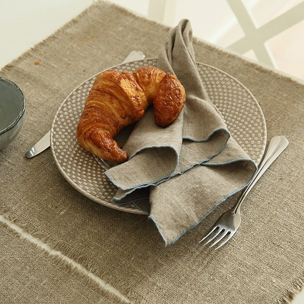 Rustic Linen Placemat with Frayed Edge - Natural - Greige - Home & Garden - Chiswick, London W4