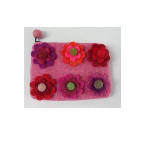 Pink Felt Purse with colourful flowers fairtrade made in Nepal