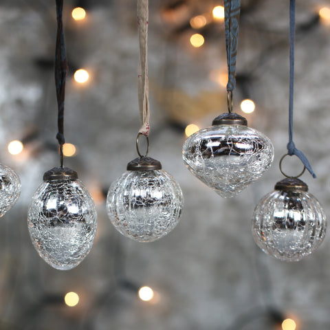 Glass Snow Drop Baubles (Set of 4) - Crackled Silver - Greige - Home & Garden - Chiswick, London W4