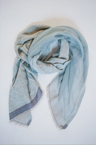 Scirocco Mist Cotton Jacquard Scarf from Jo Edwards
