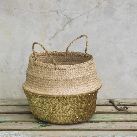 Natural woven grass storage basket with gold sequins