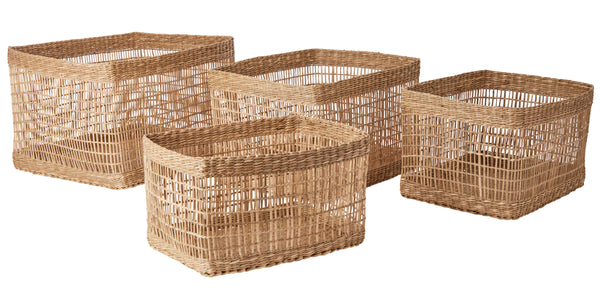 Set of Four Rectangular Seagrass Baskets - Natural - Greige - Home & Garden - Chiswick, London W4