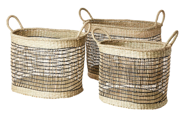 Set of Three Rectangular Seagrass Baskets - Natural and Black - Greige - Home & Garden - Chiswick, London W4