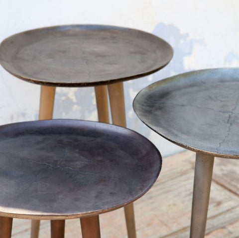 set of three round metal side tables