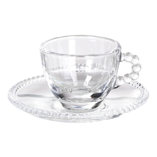 Glass Bobble Espresso Cup and Saucer - Set of Four - Greige - Home & Garden - Chiswick, London W4