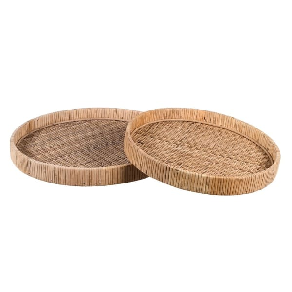 Set of Two Nesting Rattan Trays