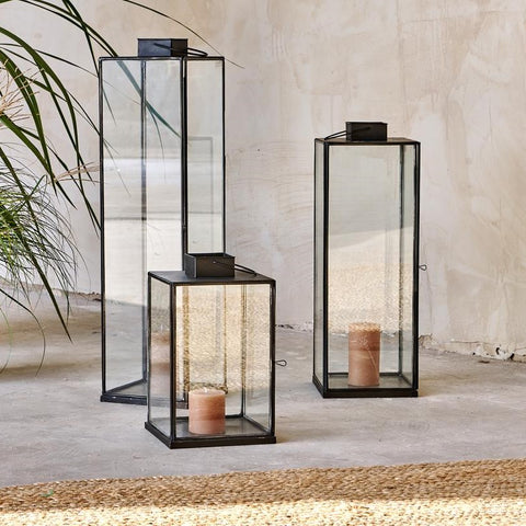 Tall Antiqued Metal Box Lantern - Sienna - Three Sizes - Greige - Home & Garden - Chiswick, London W4