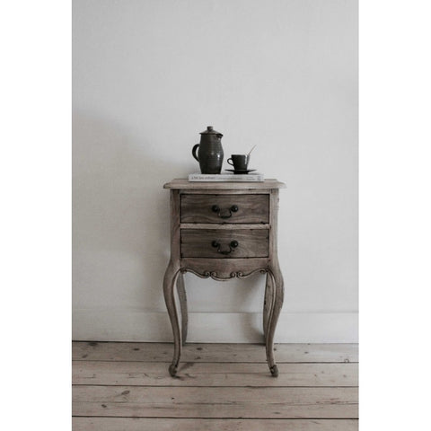 vintage style weathered wood bedside table