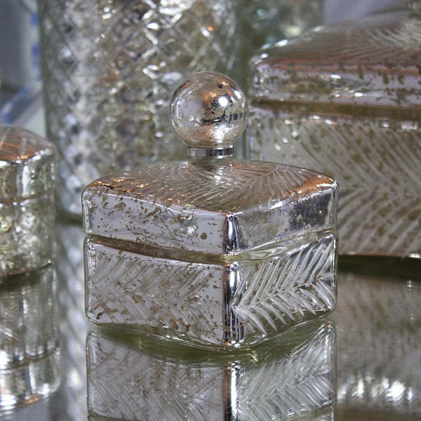Square Mercury Silver Glass Pot Jar with Lid
