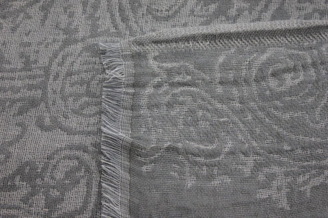 Silver Grey Paisley Design Cotton Shawl from Jo Edwards