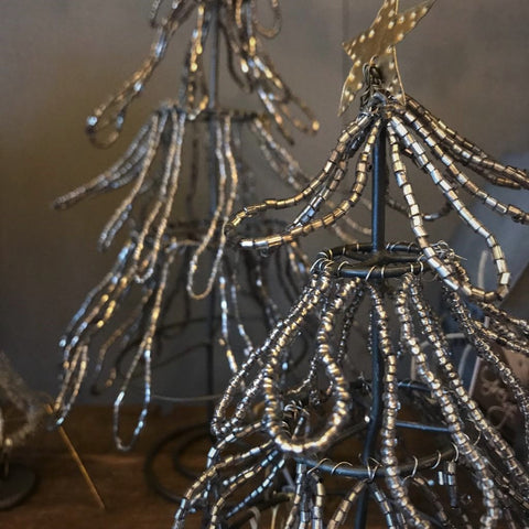 Beaded Silver Christmas Tree from Walther & Co, Denmark - Greige - Home & Garden - Chiswick, London W4
