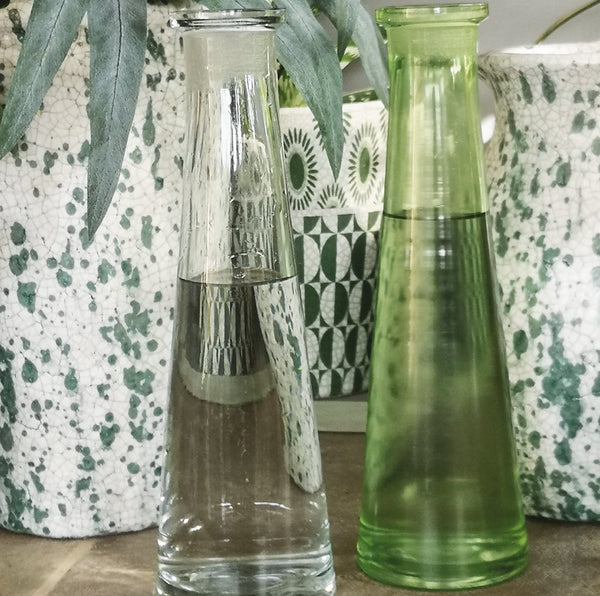 Skinny Tapered Bottle Vase - Clear or Green