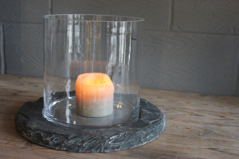 Raw Hand Cut Slate Base with Mouth Blown Glass Hurricane - Two Colours - Two Sizes