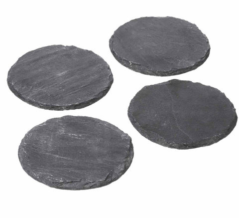 Set of Four Round Slate Coasters