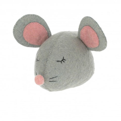 Sleepy Mouse Felt Wall Head by Fiona Walker