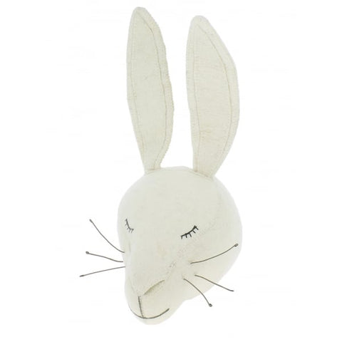 Felt Sleepy White Rabbit Head by Fiona Walker England - Greige - Home & Garden - Chiswick, London W4