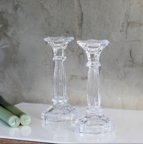 Ella Glass Candlestick - Set of Two - Greige - Home & Garden - Chiswick, London W4