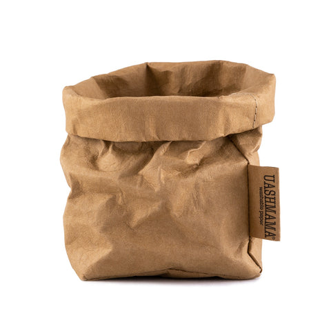 Washable Paper Bag from Italy - Avana Brown - Small