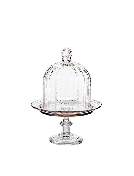 Mini Italian Glass Cake Stand With Dome